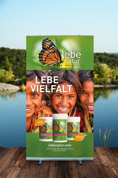Rollup-Ständer lebe natur® Natursubstanzen - 120x200 - LEBE VIELFALT