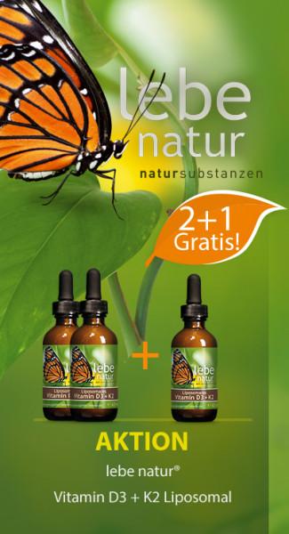 AKTION 2+1 : lebe natur® Vitamin D3 + K2 Liposomal 60 ml