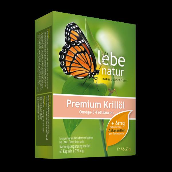 lebe natur® Krillöl Premium mit 6 mg Astaxanthin/Tds. 60er