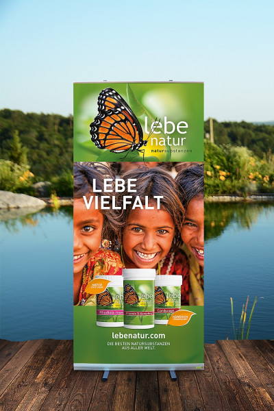 Rollup-Ständer lebe natur® Natursubstanzen - 100x200 - LEBE VIELFALT