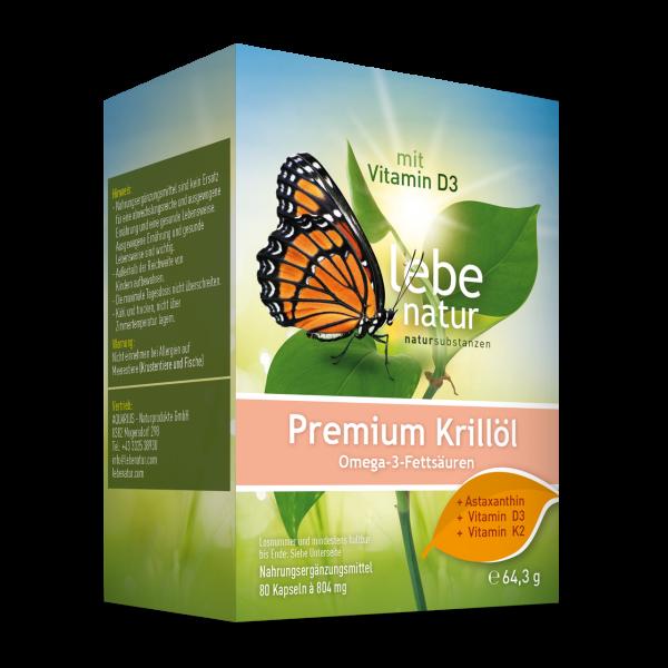 lebe natur® Krillöl Premium + Vitamin D3 + Vitamin K2 + Astaxanthin 80er