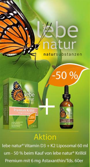 AKTION lebe natur® Krillöl Premium 60er + Vitamin D3 + K2 Liposomal